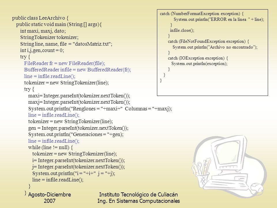 public class LeeArchivo { public static void main (String [] args){